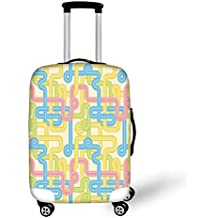 0cb5ce725 Travel Luggage Cover Suitcase Protector,90s,Geometric Pattern in Retro  Style with Round Half