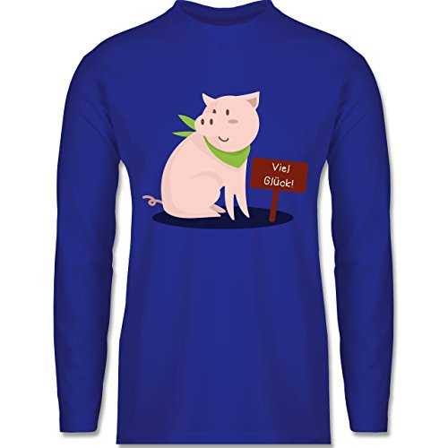 Shirtracer Sonstige Tiere - Glücksschweinchen - Herren Langarmshirt Royalblau