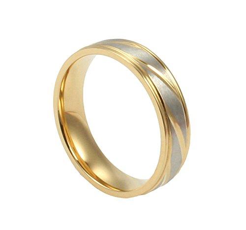 Onefeart Damen Titan Stahl Ring Herren Hochzeitsband,Twill Design 4MM&6MM Größe 71 (22.6) Junges Silber Gold (Original Stein Twill)