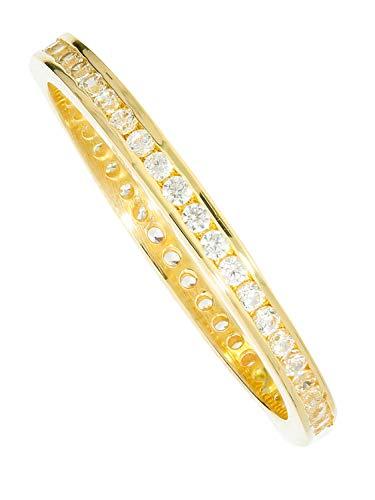 MyGold Damen Ring Gelbgold 333 Gold (8 Karat) Mit Stein Zirkonia Zart 3mm Memory Memoire Rundum Damenring Fingerring Geschenke Für Frauen Geschenkideen Gr. 56 Cora R-07950-G301-CZC-whi-W56