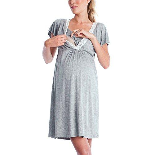 Keepwin Ropa Embarazadas Vestido Premama Lactancia Vestido De Lactancia Femenino (M, Gris#2)