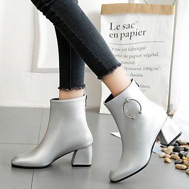 Desy Zapatos De Mujer Pu (poliuretano) Otoño Invierno Botines Cómodos Botines Cuadrados / Botas Para Casual Plata Plata Negra