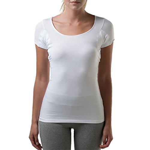 Thompson Tee - Anti-Schweiß Kurzarm-Unterhemd mit Achselschweiß-Polstern - Enge Passform - U-Ausschnitt - Weiß - XX-Large -