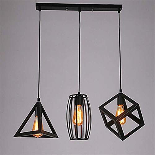 String-kronleuchter Schatten (AmzGxp LED3 String Kronleuchter Umweltfreundliche Farbe Schwarz Geometrische Beleuchtung Metall Mini Kronleuchter Beleuchtung Lampen)