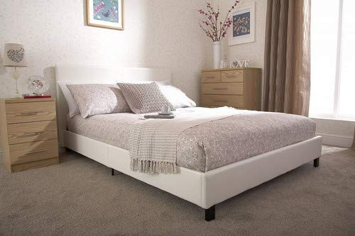 Home Source - Modern Low White Faux Leather Bedstead Bed Frame with Wooden Slats - Single