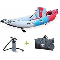 """Alice's Garden - Canoë kayak gonflable - Betta K2 monoplace - Bateau 10'3"""" 3,12m de long, 1 place eaux vives ou eau de mer avec pompe haute pression, sac de rangement"""