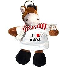 Caballo de peluche (llavero) con Amo Anda en la camiseta (nombre de pila/apellido/apodo)