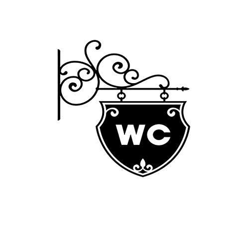 Fliyeong Premium Qualität Wc Aufkleber, WC Wc Zeichen Tür Wandaufkleber Türschild Aufkleber für Home Badezimmer Aufkleber Toilette Dekor - Zeichen Toilette Tür