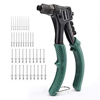 METAKOO Remachadora Manual, Pistola Remachadora con 4 Cabezales de Codificación de Colores Intercambiables, Juego Remachador Manual 4 en 1 con Remaches de 40 Piezas – MHR01H