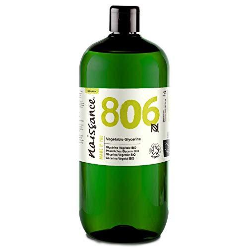 Naissance Glicerina Vegetal BIO n. º 806 – 1 Litro – Vegana, kosher, certificada ecológica y no OGM – Humectante natural ideal para elaborar productos cosméticos para la piel y el cabello.