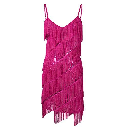 Tiaobug Damen Kleid Retro 1920er Stil Flapper Kleider Troddel V Ausschnitt Great Gatsby Motto Party Frauen Kostüm Festliche Pailletten Kleider Rose One_Size