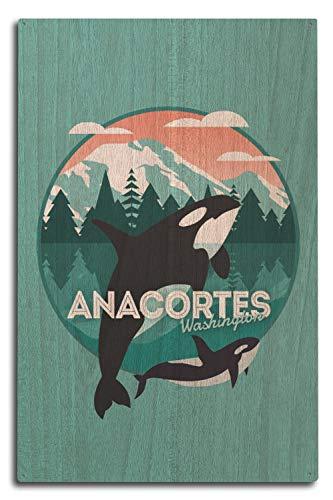 Washington-antik-karte (Lantern Press Anacortes Washington, Vector Orca Whale Contour 10 x 15 Wood Sign Multi)