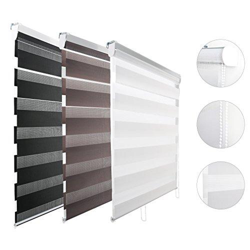 Kinlo Duo Rollo Klemmfix 90 x 150 cm(BxL) schwarz Doppelrollo für Fenster Verdunklungsrollo brauchen Bohren lichtdurchlässig und verdunkelnd Sonnenschutzrollo mit Kettenzug