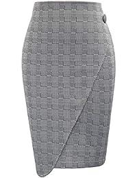GRACE KARIN Mujer Falda de Tubo a Cuadros Gris Elegante para Oficina Negocio