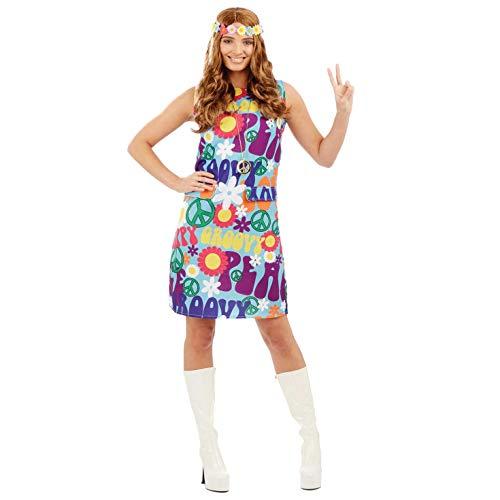 Powers Kostüm Frauen Austin - Fun Shack Damen Costume Kostüm, Groovy Hippie Dress, m