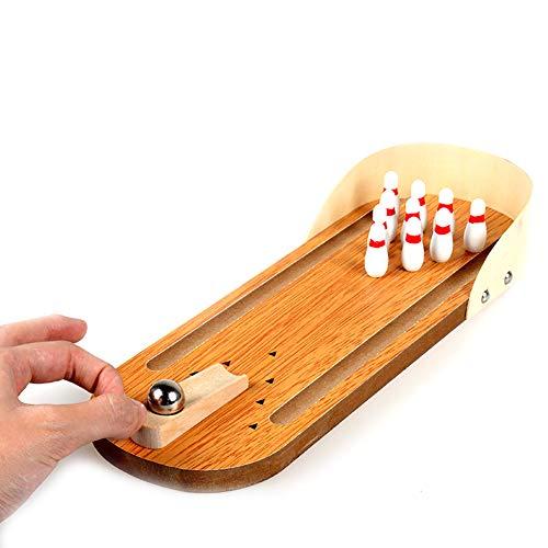 Holz Mini Bowling Spielzeug Desktop-Spielzeug für Kinder und Erwachsene kreative Casual Dekomprimierung Brettspiel-Geschenk, 1Set