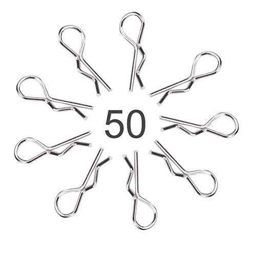 Drfeify 50 Stück RC Auto Clip Pins, Edelstahl R Typ RC Karosserie Shell Clip Pins für 1/10 1/12 1/16 Fernbedienung