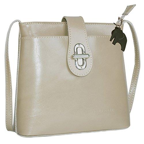 Borsetta piccola a tracolla in vera pelle italiana di Big Handbag Shop Taupe (BH456)