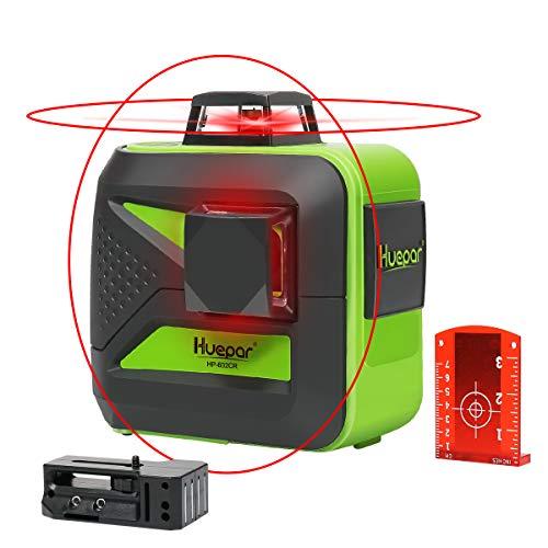 Huepar 602CR 2 x 360 Kreuzlinienlaser Roter, 360 Grad Linienlaser Selbstnivellierenden Laser Level mit Pulsfunktion, 20m Arbeitsbereich, (inkl. Universal Lithiumbatterie, AA Batterie und Halterung)