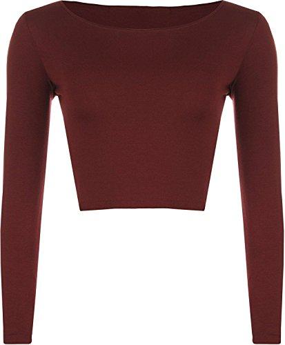 Crop Frauen Langarm-T-Shirt Damen Short Plain-Rundhalsausschnitt Top 8-14 Wein