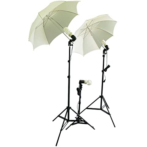 CowboyStudio triplekit fotografia/Video Studio Umbrella luce continua Kit con 3 x Day Light CFL lampadine/2 x Diffuser ombrelloni per riprese video articolo/Ritratto/