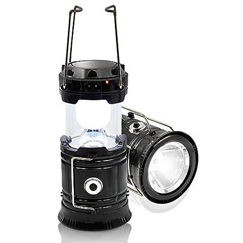 Solar Camping Lantern Portable Lampes solaires repliables Rechargeable Emergency Light Ultra Bright LED Flashlight alimenté par panneau solaire et charge USB (Black)