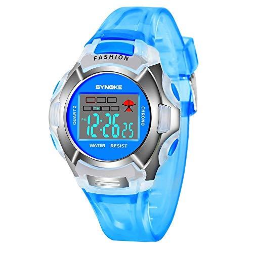 HEATLE Uhr Ansehen 1PC Gute Qualität Multifunktion Kinder Jungen Student Wasserdicht Sportuhr Led Digital Date Armbanduhr Für SYNOKE (1PC, Blau)