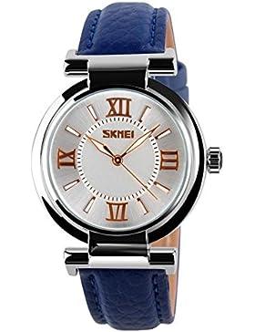 Damen Mode wasserdicht Zeiger Uhren/Charakter-Gürtel Schulmädchen ansehen-blau