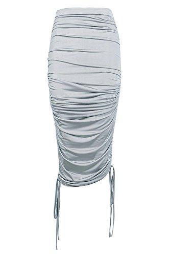 Silber Damen Mia Fließender Midirock Mit Seitlicher Raffung Silber