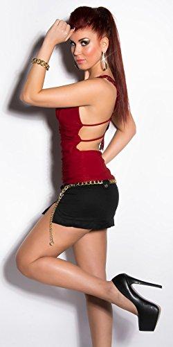 Extravagant Top avec décolleté plongeant et en dentelle et en bordeaux rouge/rose/noir/blanc/beige Taille unique XS, S, M 343638en–Shion stylefa) Red - Bordeaux