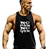Befox Herren Cotton Tank Top Stringer Fitness Gym Shirt NO Pain NO GAIN Weste Muscleshirt Sport Vest