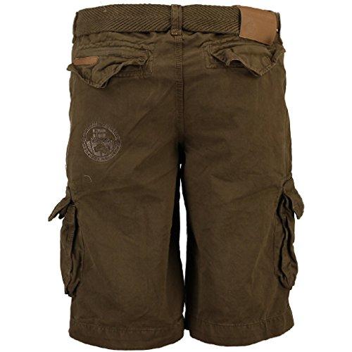 Geographical Norway Herren Cargo Shorts Polish Seiten-Taschen inklusive Gürtel knielang khaki S (Klappe Kurze Tasche)
