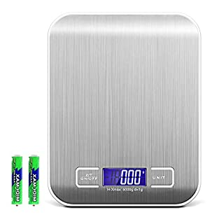 Criacr Digital Kitchen Scale, (5kg/11lb) Food Scale, Electronic Cooking Food Scale, Accurate, Silver