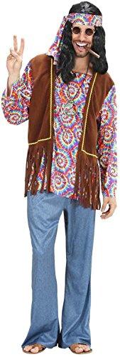 Hippie Männer Kostüm - Widmann 75403 - Erwachsenenkostüm Psychedelic Hippie Mann, Hemd mit Weste, Hose, Stirnband und Kette, Größe L