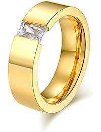 Ueice Anillo de boda unisex de 6 mm de oro pulido, ajuste cómodo