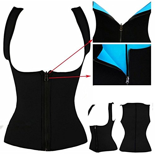 Frauen Damen Zipper Waist Cincher Training Sport Korsage Korsett Corsage Sweat Vest Hot Neopren Sauna Pants Tank Top Weste für Gewichtsverlust -VENAS schwarz+bodyshaper