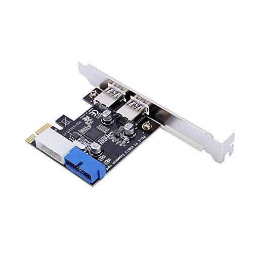 Oumij Adattatore Scheda di Espansione da PCI-E a USB 3.0 con Interfaccia 19PIN Anteriore Unziona Perfettamente con Windows XP 32/64, Windows 7 32/64, Windows8, Windows8.1, Windows10