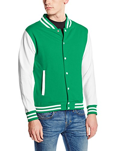 Just Hoods by AWDis Herren Jacke Varsity Jacket Multicoloured (Kelly Green/White)