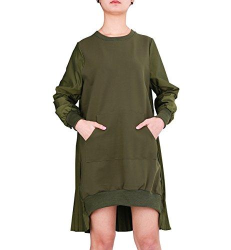 ELLAZHU Women Fashion Patchwork Sweatshirt Pleated Loose Midi Dress GY1487 Green
