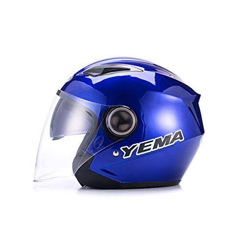 ZXW Motorrad-Elektro-Helm Männer und Frauen vier Jahreszeiten Universal HD verbesserte Objektiv Helm (Farbe : Blau, größe : 32x24x24cm)