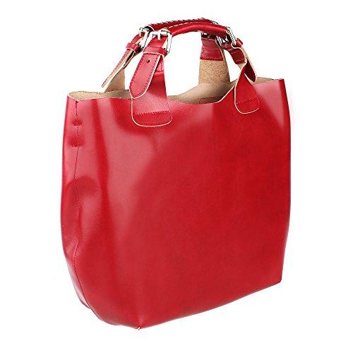 Frau Handtasche mit Schultergurt aus echtem Leder Made in Italy und abnehmbarem Baumwoll-Innenbeutel Chicca Borse 44x30x13 Cm Rot