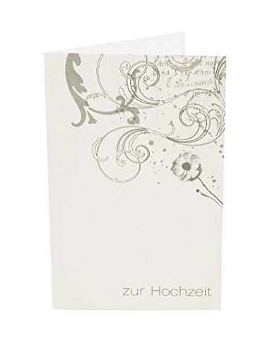 Susi Winter Design & Paper Edle Hochzeitskarte, Motiv in Silber, echtes Büttenpapier, innen blanko mit gefüttertem Büttenumschlag