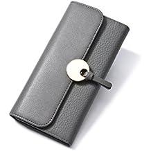2332626da7 Yvonnelee Delle donne del cuoio genuino portafogli borsa esclusiva Long  Bifold cassa