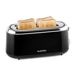 Klarstein-Elox–Toaster–Doppel-Langschlitz-Toaster–4-Scheiben-Toaster–Edelstahl–7-stufig-Einstellbarer-Brunungsgrad–Auftau-Funktion–Aufwrm-Funktion–Krmelschublade–1300W–schwarz