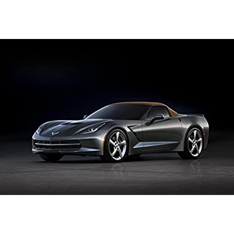 Classic y los músculos de los coches y COCHE Chevrolet Corvette Convertible arte (2014) coche Póster en 10 mil Archival papel satinado gris del lado frontal superior a Vista, papel, Gray Front Side Top Up View, 36