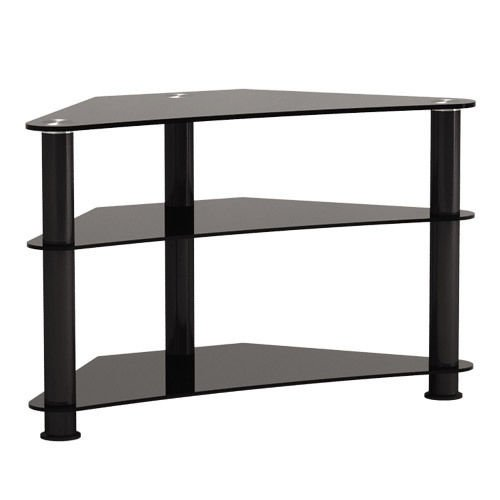 G-vo Black Glass Aluminum Corner Tv Stand For Led Lcd Plasma Televisions Up To 42-inch, Maxweight Capacity: 30kgs/66lbs