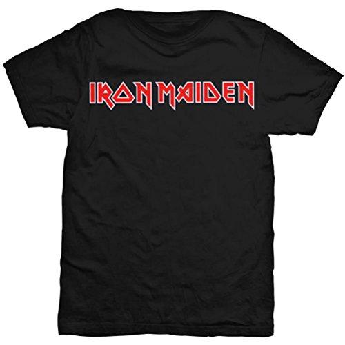 Iconic Styler (Unbekannt Offiziell Lizenziertes Herren Iron Maiden Iconic Red Logo Schwarzes T-Shirt mit Rundhalsausschnitt)