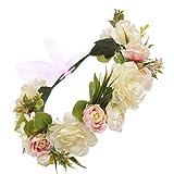 Winslet Blumen Stirnband Hochzeit Haarkranz Krone - Frauen Mädchen Blumenkranz Haare für Hochzeit Party (Weiß)