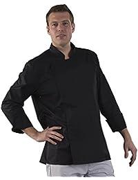 label blouse veste de cuisine manches longues serg 210 gramme couleurs noir pressions inoxydables lavage machine - Veste De Cuisine Orange