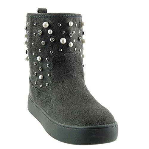 Angkorly - Chaussure Mode Bottine plateforme bottes de neige femme perle clouté strass diamant Talon bloc 3 CM - Intérieur Fourrée Gris